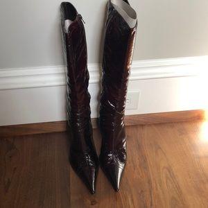Vintage Mariano Renzi Bordeaux Patent boots